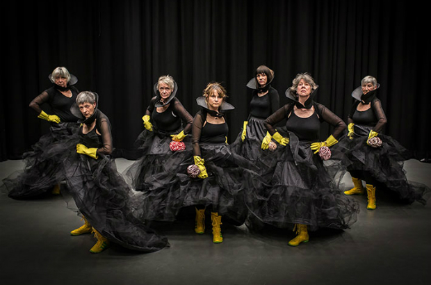 Performers wear crinolines, corsets and boxing boots, to show the public what older people are capable of.