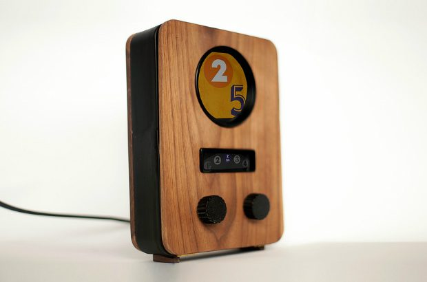 A Pad'io, a cuboid, wooden interface for tablet computers.