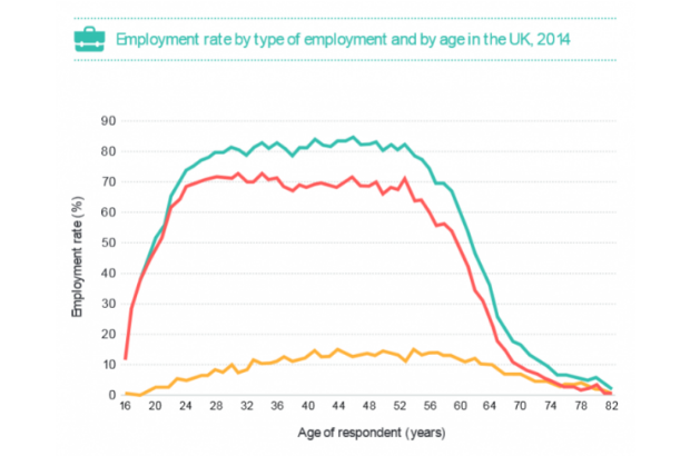 Graph showing employment rate by type of employment and by age in the UK, 2014